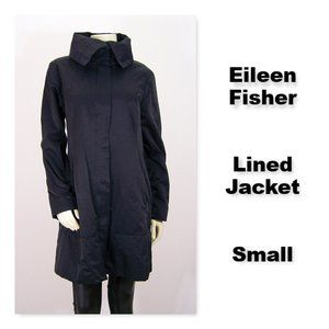 Eileen Fisher Lined Front Zip Jacket Black
